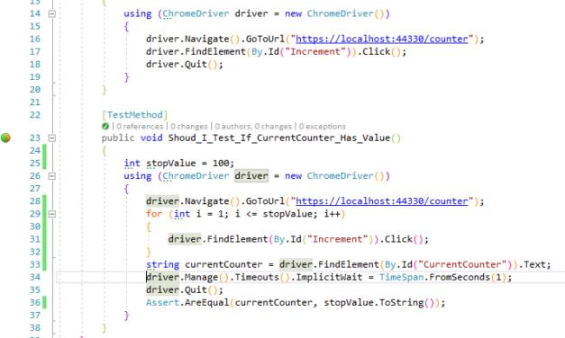 UI test con Selenium en Visual Studio