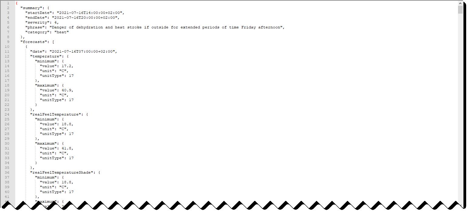 Salida del API en formato JSON